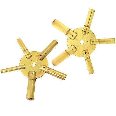 2 Clock Keys for Winding Grandfather Clocks Odd Even Sizes