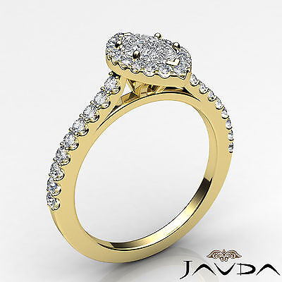 Halo French Pave Set Marquise Diamond Engagement Anniversary Ring GIA H VS1 1Ct 1