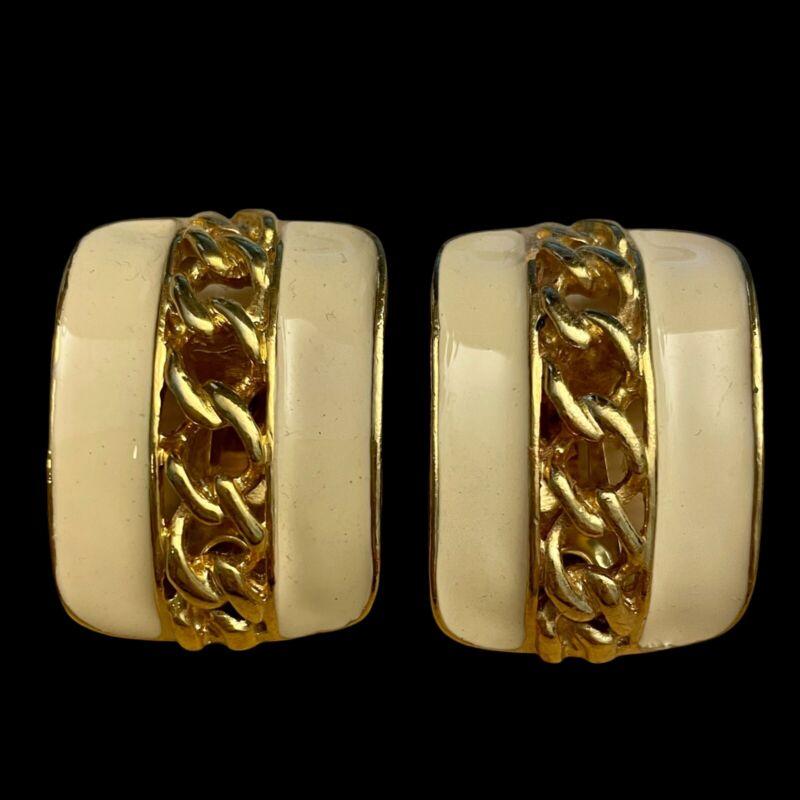 Vintage Earrings Cream Enamel Chain link accent Clip On Goldtone Women
