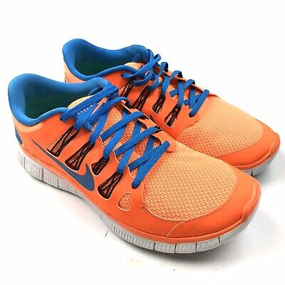 Nike Men's Free 5.0 Neon Total Orange Blue Lace Up Running Sneaker Shoe 9 579959