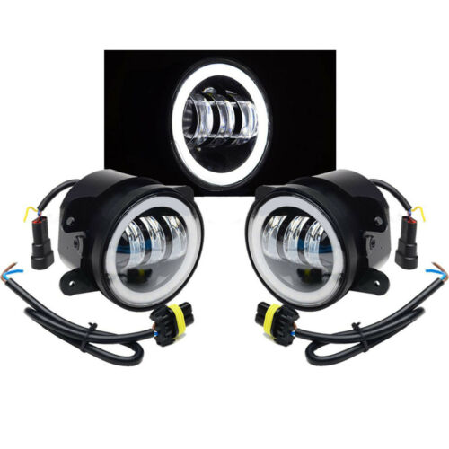 "4"" inch  LED Fog Light Halo Driving Lamp Fits 2007-2016 Jeep Wrangler JK TJ LJ"