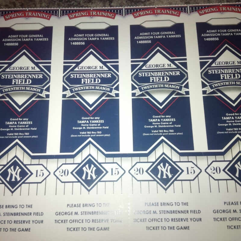 4 Tickets / 16 Admissions Lot  - Tampa Yankees Voucher Coupon ANY GAME SAVE $$