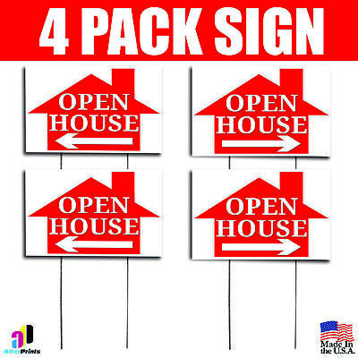 4x Open House Signs Left Right Arrow Real Estate Marketing