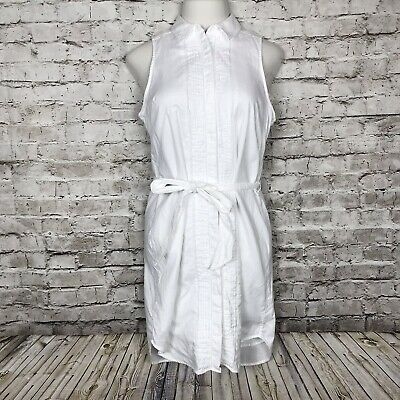 Banana Republic Oxford Shirt Dress Womens 10 White Button Front Sleeveless