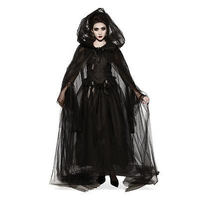 Women's Black Hooded Mesh Long Costume Cape Halloween Witch Vampiress Gothic - Halloween Costumes Black Cape