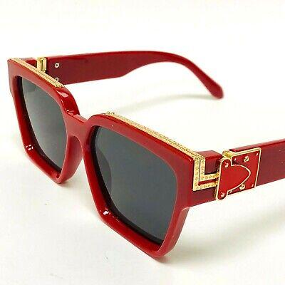 For Women Men Sunglasses Red White Black Green Marble Hip-Hop Thick Frame (White Frame Sunglasses For Women)