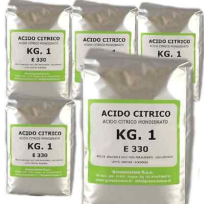 ACIDO CITRICO KG. 5 IN CONF.DA 1 - MONOIDRATO E330  -OFFERTA RISPARMIO