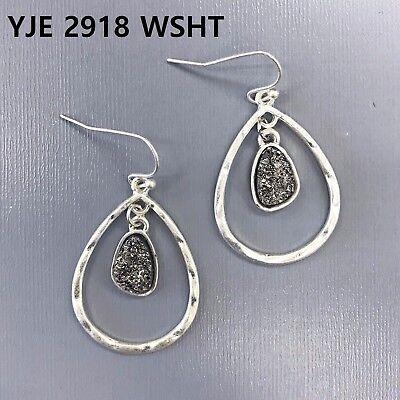 Teardrop Shape Earrings (Silver Finish Double Teardrop Shape Hematite Color Druzy Design Dangle Earrings )