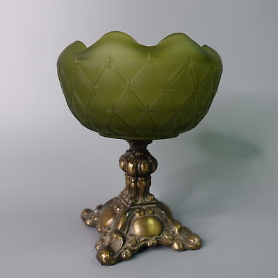 Vtg Green Satin Glass Pedestal Bowl Gold Metal Base Hollywood Regency Loevsky