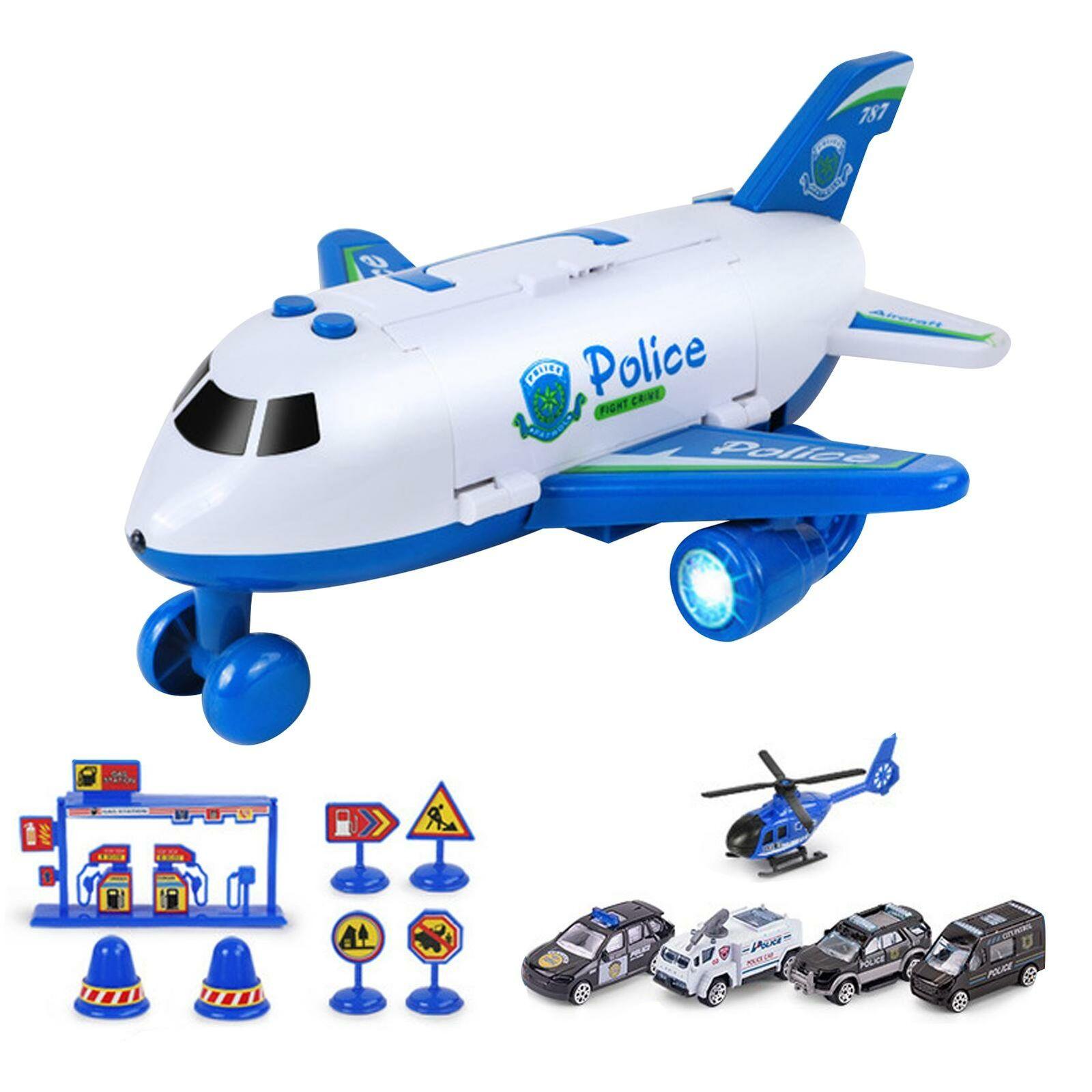 12-teiliges Autospielzeug-Set mit Transport-Frachtflugzeug und großem Mini-Spiel