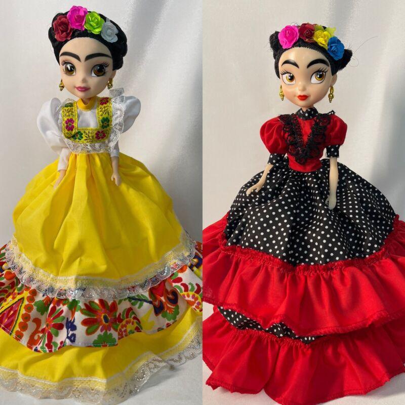 Frida Kahlo Doll set of 2 munecas mexicanas Muñecas De Frida Traditional Dresses