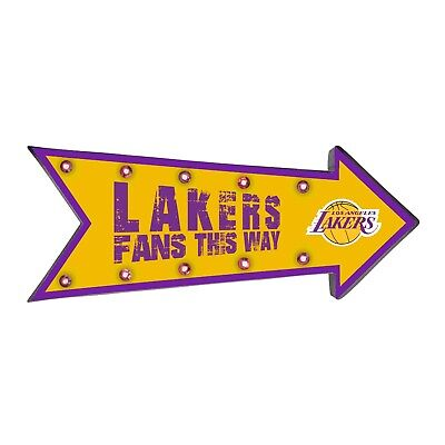 LA Los Angeles Lakers Arrow Marquee Sign - Light Up - Room Bar Decor NEW 18