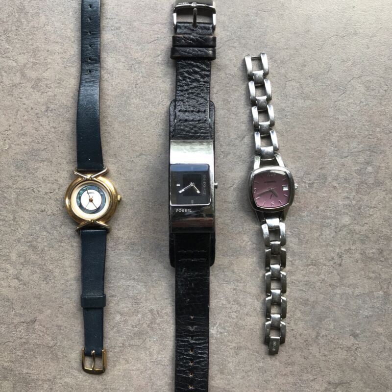 Great Lot of Three Fossil Womens Watches All Three Watches Run Great Lot #23