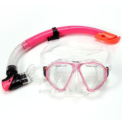 Adult PVC Snorkel Mask Set Dive Goggles Scuba Anti-Fog Mask Valves Pink