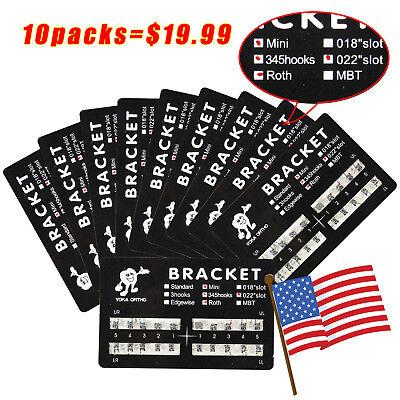 10*Dental Orthodontic Brackets Braces Mini Roth Slot.022 3-4-5 Hooks #2 US STOCK