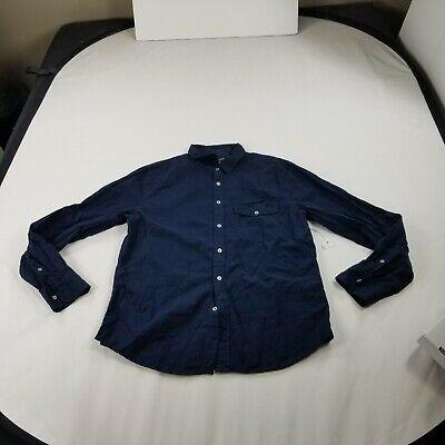 Save Khaki United Shirt XL blue soild Collar Button Front long Sleeves d