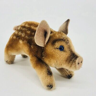 Steiff Jolanthe the Pig Vintage 1950's Germany Mohair Stuffed Toy Plush Animal
