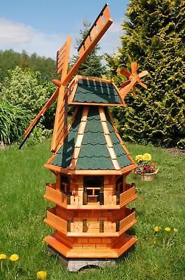 *Windmühle 3 stöckig, kugelgelagert 1,40m Bitum in grün für den garten