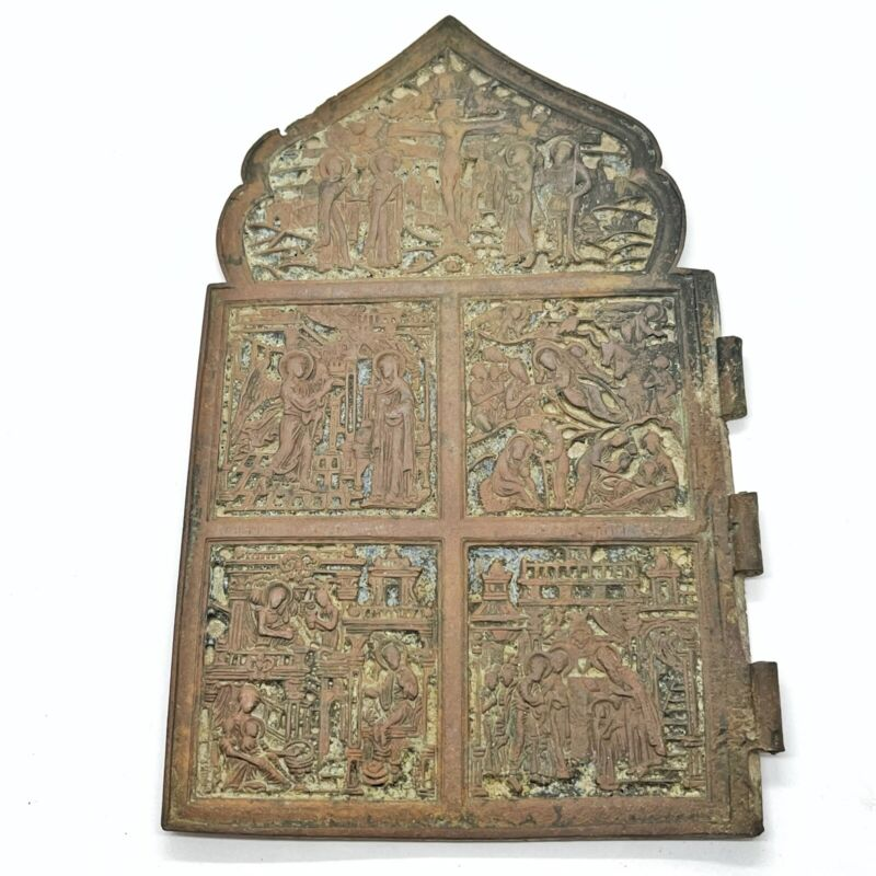 HUGE Late Or Post Medieval Russian Orthodox Brass Icon Relic Circa 1500-1700's A