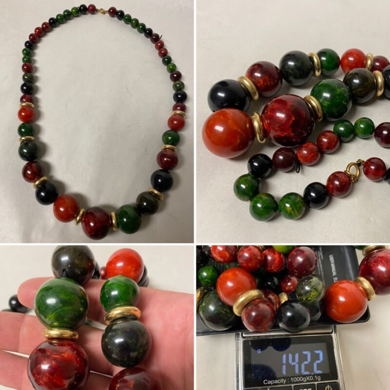 OUTSTANDING VINTAGE MULTI-COLOR BAKELITE CATALIN ROUND BEADS ROPE NECKLACE