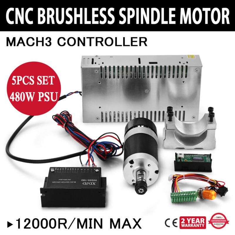 CNC 400W Brushless Spindle Motor & Speed Controller & Mount + 600W PSU US Stock