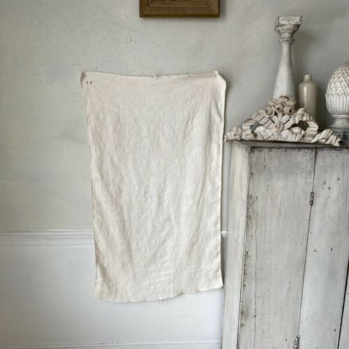 Antique French PURE linen hand kitchen towel IP monogram lovely Textile Trunk