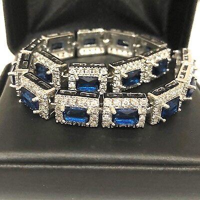 Shinning Blue Sapphire Diamond Halo Tennis Bracelet 14K White Gold Plate Jewelry