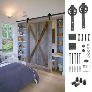 Lovely 6.6 FT Sliding Barn Door Hardware Track Kit Closet Antique Country Style  Black