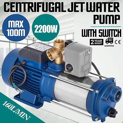 2200W Bomba de Agua Centrífuga 160L/min Eléctrica JET Centrífuga Casa Jardín
