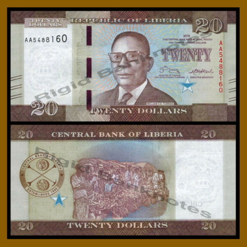 Liberia 20 Dollars, 2016 P-33 New Design Unc