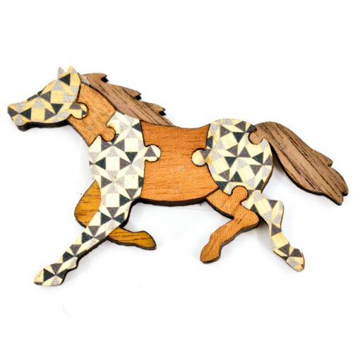 Northwoods Wood Cutout Running Horse Jigsaw Puzzle Design Magnet