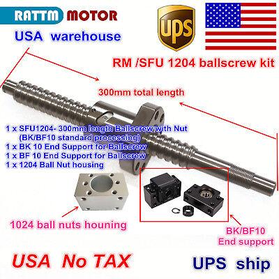 Us Stock Ballscrew Rm1204-300mm-c7 With Ballnut Bkbf 10nut Housing Cnc Kit