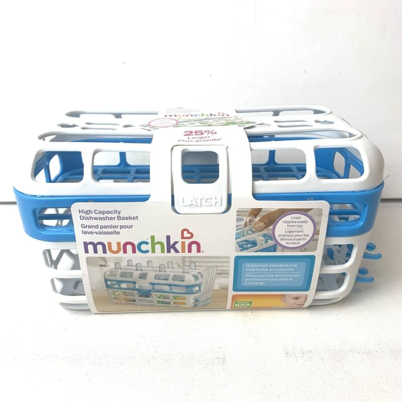 Munchkin High Capacity Dishwasher Basket Load Nipples Easily Blue White NWT