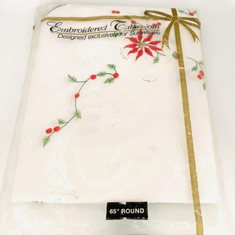 "White Christmas Embroidered Tablecloth & napkins Poinsettia Sunweave  65"" ROUND"