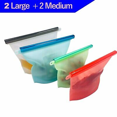 4 Pcs Reusable Silicone Food Storage Bags Leakproof Containers Stand Up BPA Free