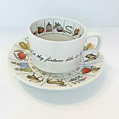 Vintage Fortune Telling Tea Cup & Saucer Zodiac Astrology Jon Anton Ironstone