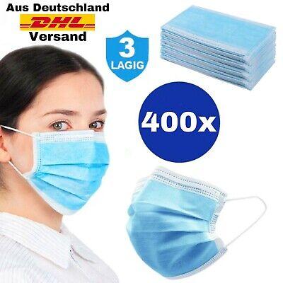 400 Stück Masken Mundschutz Masken OP Einweg Schutzmaske 3Lagig Atemschutz Maske