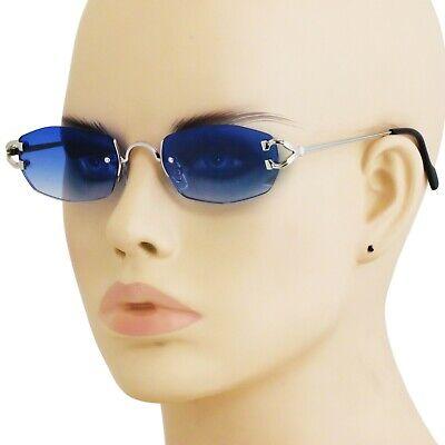 Mens Classy CONTEMPORARY MODERN Style Sun Glasses Silver Rimless Frame Blue Lens