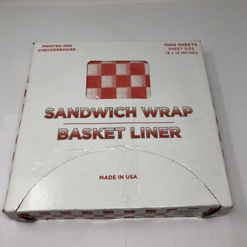 1000 Deli Sandwich Wraps Red & White Check Food Wrapping Papers Basket Liners