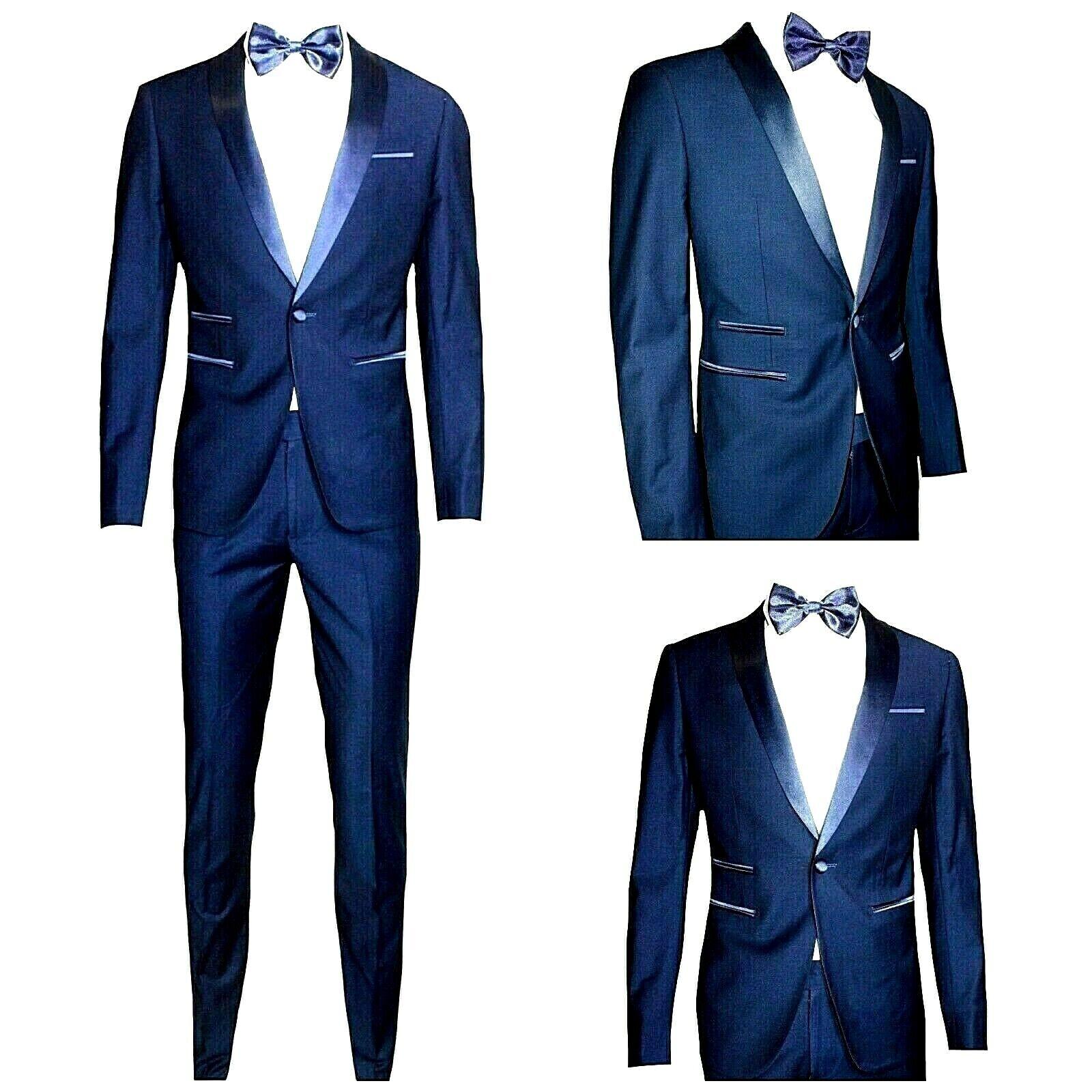 Smoking uomo SUPER SLIM blu abito misto viscosa/raso 44 46 48 50 52 54 56 58 60