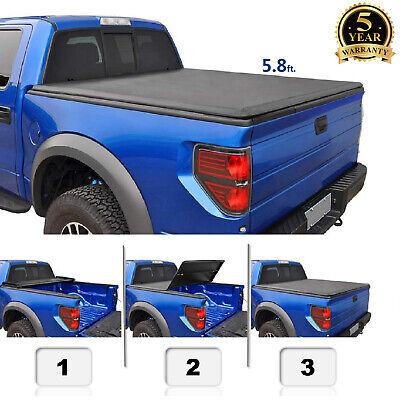 5.8' Soft Tri Fold Bed Cover for 14-19 Silverado Sierra 1500 Pickup Truck