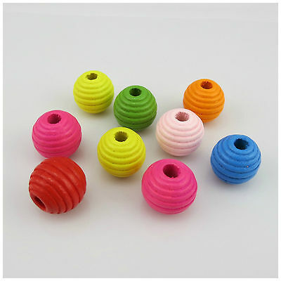 20PCS MULTI COLOURED 20MM LIGHTLY GROOVED ROUND WOODEN BEADS - JEWELLERY MAKING