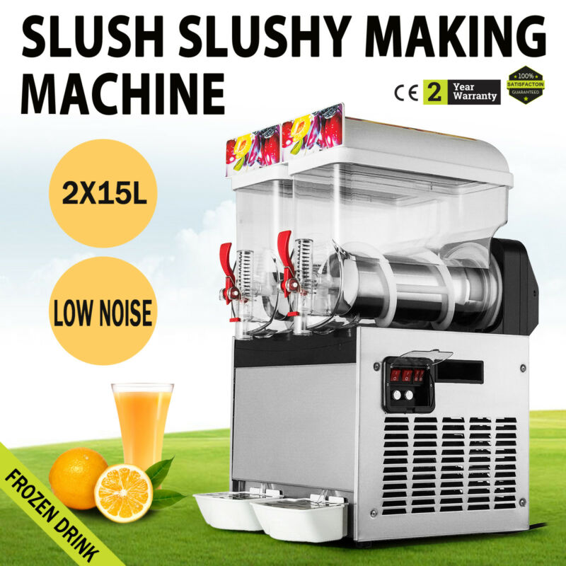 2*15L Commercial Frozen Drink Slush Slushy Make Machine Smoothie Maker