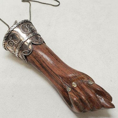 Large Gerson Bahia Wood & Sterling Silver Mano Fico Figas Fig Hand Charm Pendant