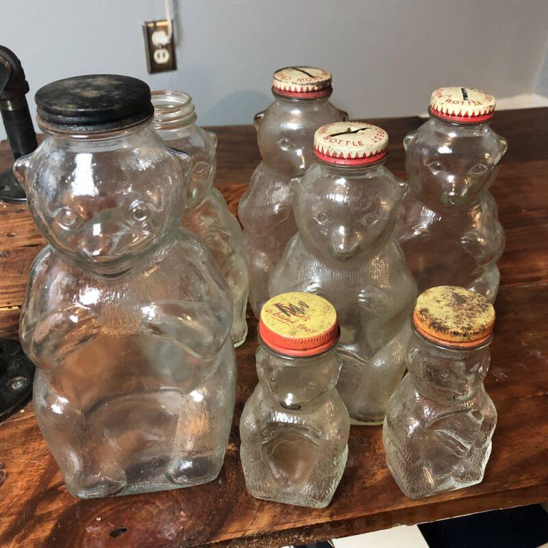 Snow Crest Lot (7) Bank Bottle Bear Clear Salem Mass Glass
