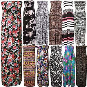 Womens-Ladies-Plus-Size-Printed-Boob-Tube-Stretch-Sheering-Maxi-Dress-8-TO-22