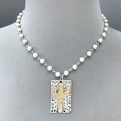 Design Silver Bead Charm (Silver Chain Metal Bead Charm Rectangle Shape Cactus Design Pendant Necklace )