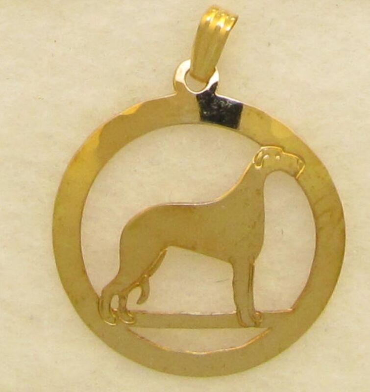 Scottish Deerhound Jewelry Gold Pendant