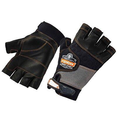 Ergodyne 901 Fingerless Leather Impact Protection Work Gloves Black
