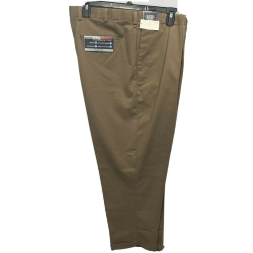 Roundtree & Yorke Travel Smart Ultimate Comfort Pleated Pants 52×32 Brown Cuffed Clothing, Shoes & Accessories